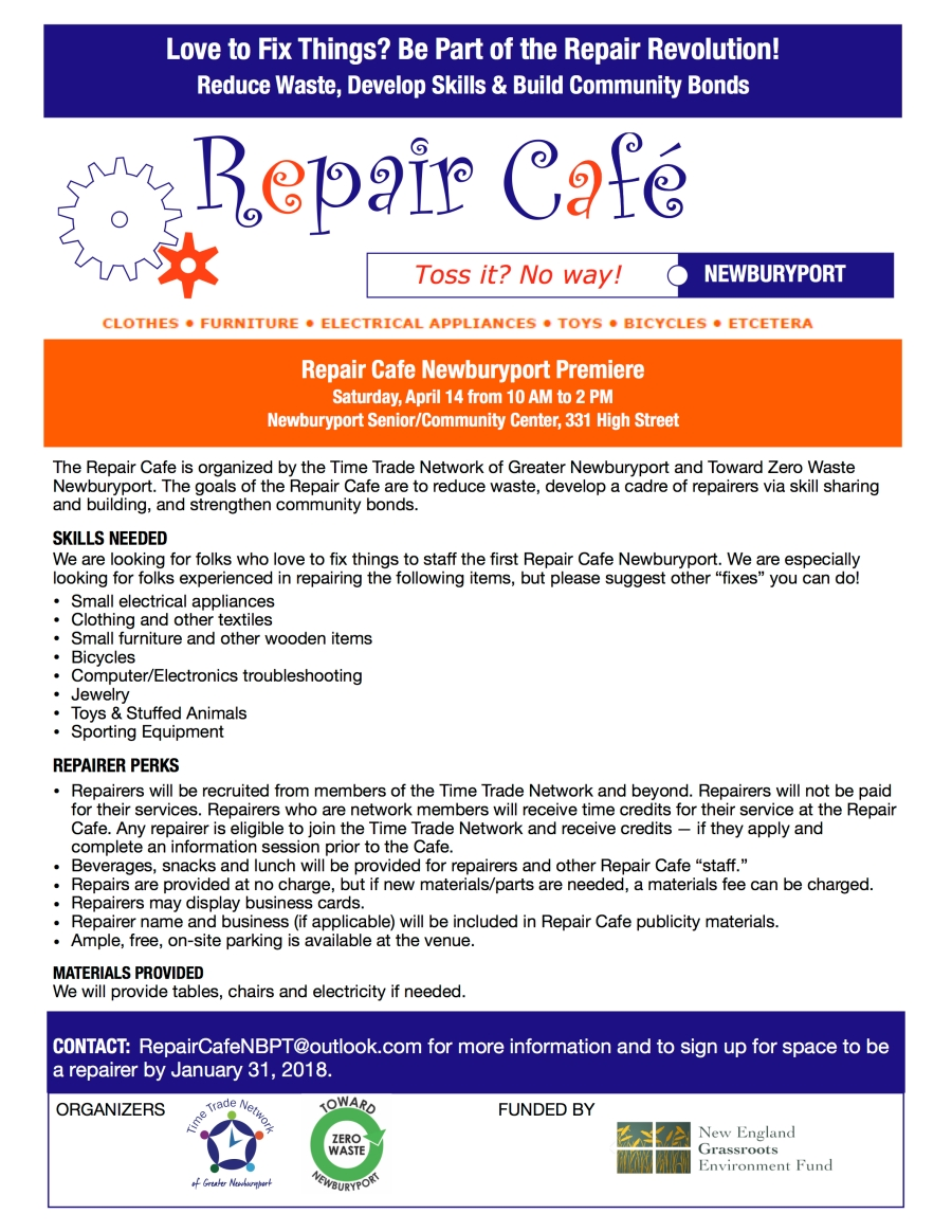 NBPT Repair Cafe Repairer Recruitment Flyer